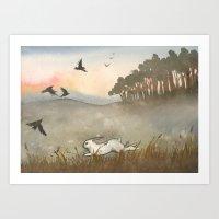 Little White Rabbit And … Art Print