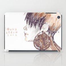Fashion illustration profile portrait gold black white markers and watercolors iPad Case