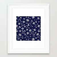 Indigo Floral Trail Framed Art Print
