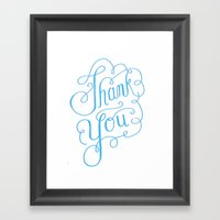 Thank You Hand Lettered … Framed Art Print