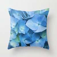 Blue Hydrangea Throw Pillow