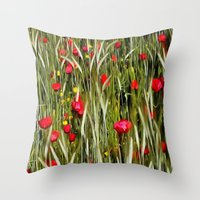 Red Poppies In A Cornfield Throw Pillow