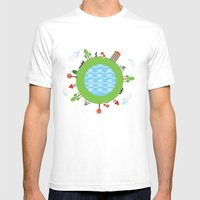 Around The World Mens Fitted Tee White SMALL