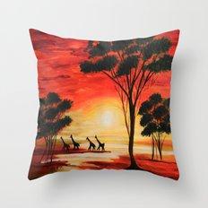 African sunset Throw Pillow