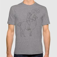 Follow that llama ! Mens Fitted Tee Athletic Grey SMALL