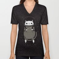 Space Cat Unisex V-Neck