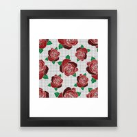 Rose & Dots Pattern Framed Art Print