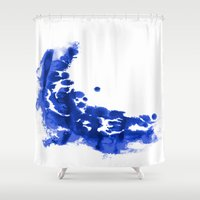 Paint 9 abstract indigo watercolor painting minimal modern canvas affordable dorm college art  Shower Curtain