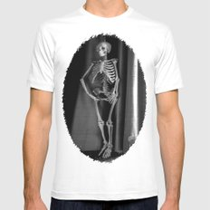 The Skeleton by the Printer SMALL Mens Fitted Tee White