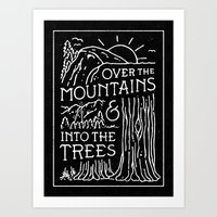 OVER THE MOUNTAINS (BW) Art Print