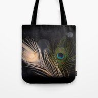 Tote Bag featuring Peacock Feathers by Andrew Sliwinski