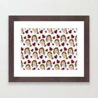 Girls and ladybirds pattern Framed Art Print