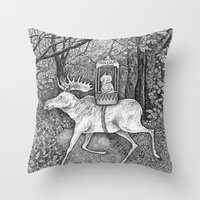 Fox riding moose Throw Pillow