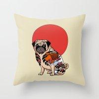 Yakuza Pug Throw Pillow
