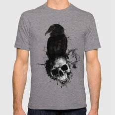 Raven and Skull Mens Fitted Tee Tri-Grey SMALL
