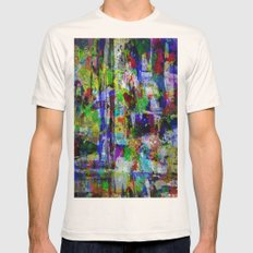 Circus Of Colour - Mixed Colour Abstract Mens Fitted Tee Natural SMALL