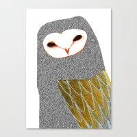 Barn owl, owl art, owl illustration, owls, nature, animal art,  Canvas Print