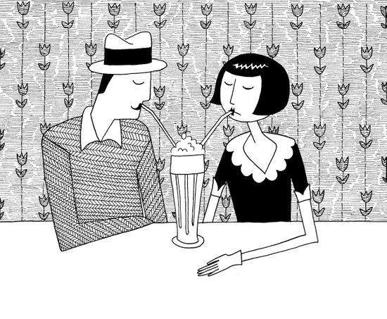 They shared a chocolate shake and some dreams Art Print
