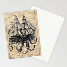 Octopus Kraken attacking Ship Antique Almanac Paper Stationery Cards