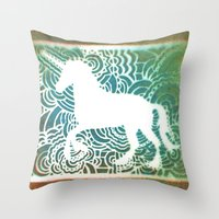 Unicorn Drawing Meditati… Throw Pillow
