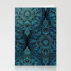 Black & Aqua Protea Dood… Stationery Cards