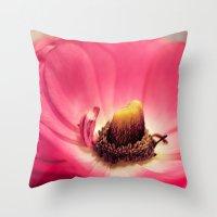 Ranunculus heart Throw Pillow