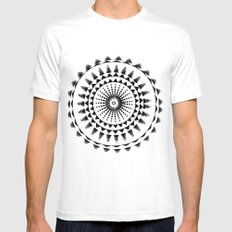 Abstract SMALL White Mens Fitted Tee