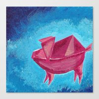 Canvas Print featuring Origami Pig 3 by eefak