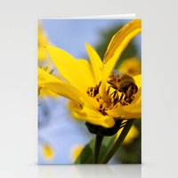Yellow Flower And Bee Stationery Cards