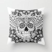 Skull Moth Throw Pillow