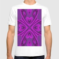 Hot Pink Hearts Mens Fitted Tee White SMALL