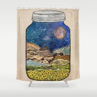 Shower Curtain featuring Star Jar by Jenndalyn