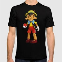 Skull Pinocchio Mens Fitted Tee Black SMALL