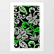Green Japanese Floral Pa… Art Print