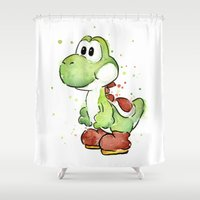 Yoshi Watercolor Mario Shower Curtain
