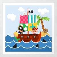 Art Print featuring PIRATE SHIP (AQUATIC VEHICLES) by Alapapaju