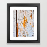 Peeling wooden door detail Framed Art Print
