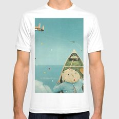 Air Communication White Mens Fitted Tee SMALL