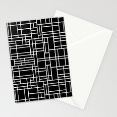 Map Outline White on Black Stationery Cards