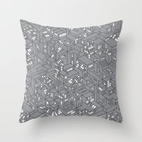 City Grid Night Print Throw Pillow