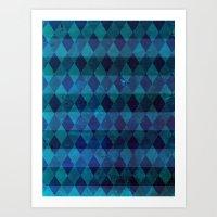 Diamond Stripes (blue) Art Print