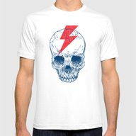 Skull Bolt Mens Fitted Tee White LARGE