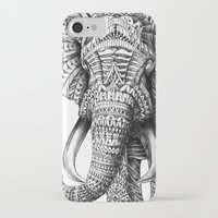 animal skull iPhone & iPod Cases featuring Ornate Elephant by BIOWORKZ
