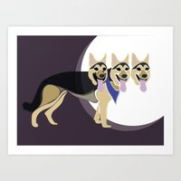 That three headed dog Art Print