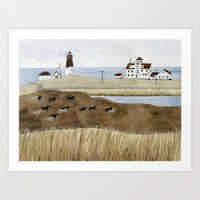 Seashore Lighthouse And … Art Print