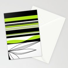 Green White Black Lines Stationery Cards