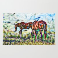 Abstract Horses In Paddo… Rug