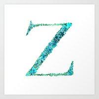 Floral Monogram Letter Z Art Print