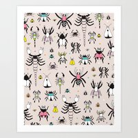 Creepy scorpion spiders and insect illustration quirky bugs creature pattern Art Print