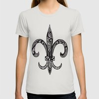 Fleur Di Lis  Womens Fitted Tee Silver SMALL